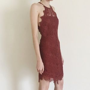 Free People She's Got It Slip Lace Bodycon Rust
